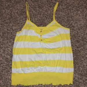Tops - Yellow and white stripped Old Navy tank top